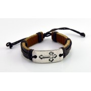 Adjustable Leather Bracelet - Brown Colour