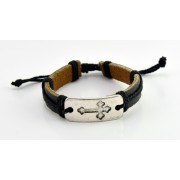 Adjustable Leather Bracelet - Black Colour