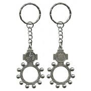 St.Patrick and Ora Pro Nobis (Pray for Us) Basco Rosary Ring Keychain