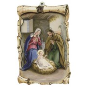 "Nativity Raised Scroll Plaque cm.10x15 - 4""x6"""