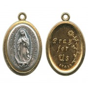 Our Lady of Guadalupe / Pray for Us Two Toned Oval Medal