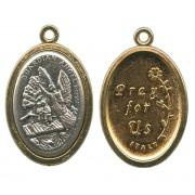 Guardian Angel / Pray for Us Two Toned Oval Medal