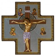 "Jesus on the Cross Wood Crucifix cm.15x15 - 6""x6"""