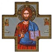 """Pantocrator Wood Crucifix cm.15x15 - 6""""x6"""""""