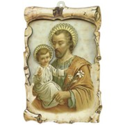 "St.Joseph Raised Scroll Plaque cm.10x15 - 4""x6"""