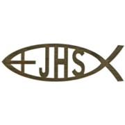 "Adhesive Small Cross JHS Fish Faith Symbol Gold cm.14.5 x 4.5- 5 3/4""x 2 3/4"""