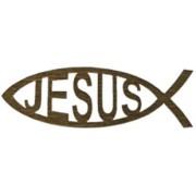 """Adhesive Jesus Fish Faith Symbol Gold English cm.14.5 x 4.5- 5 3/4""""x 2 3/4"""""""