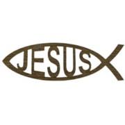 "Adhesive Jesus Fish Faith Symbol Gold French cm.14.5 x 4.5- 5 3/4""x 2 3/4"""