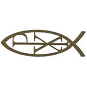 "Adhesive Pax Fish Faith Symbol Gold cm.14.5 x 4.5- 5 3/4""x 2 3/4"""
