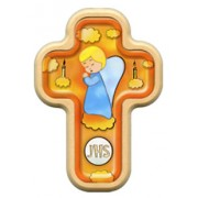 "Boy Angel and Candles Cross with Wood Frame cm.10x14.5 - 4""x5 3/4"""