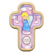 "Girl Angel and Candles Cross with Wood Frame cm.10x14.5 - 4""x5 3/4"""