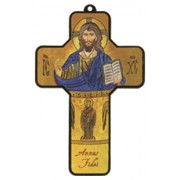 "Year of the Faith- Pantocrator Wood Laminated Cross cm.13x9 - 5""x 31/2"""