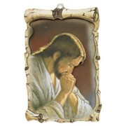 "Jesus Praying Raised Scroll Plaque cm.10x15 - 4""x6"""