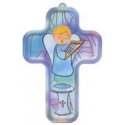 "Boy Guardian Angel Communion Wood Laminated Cross cm.13x9 - 5""x 31/2"""