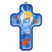 "Boy Guardian Angel Communion Wood Laminated Cross cm.13x9 - 5""x 31/2"""