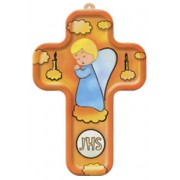 "Boy Angel and Candles Wood Laminated Cross cm.13x9 - 5""x 31/2"""