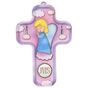 "Girl Angel and Candles Wood Laminated Cross cm.13x9 - 5""x 31/2"""