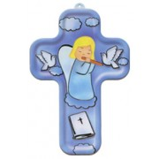 "Girl Guardian Angel and Flute Wood Laminated Cross cm.13x9 - 5""x 31/2"""