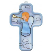 "Guardian Angel and Trumpet Wood Laminated Cross cm.13x9 - 5""x 31/2"""