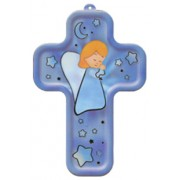"Guardian Angel Praying Wood Laminated Cross cm.13x9 - 5""x 31/2"""