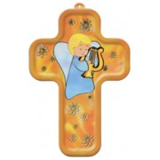 "Boy Guardian Angel and Harp Wood Laminated Cross cm.13x9 - 5""x 31/2"""
