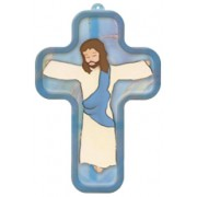 "Blue Cartoon Jesus Crucified Wood Laminated Cross cm.13x9 - 5""x 31/2"""