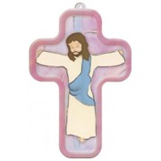 "Pink Cartoon Jesus Crucified Wood Laminated Cross cm.13x9 - 5""x 31/2"""