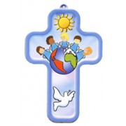 "Children of the World Blue Wood Laminated Cross cm.13x9 - 5""x 31/2"""