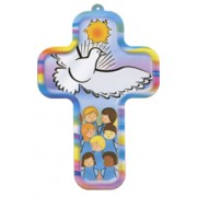 "Holy Spirit and Children Wood Laminated Cross cm.13x9 - 5""x 31/2"""