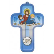 "Last Supper Dark Blue Wood Laminated Cross cm.13x9 - 5""x 31/2"""
