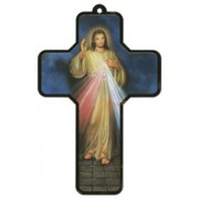 "Devine Mercy Wood Laminated Cross cm.13x9 - 5""x 31/2"""