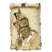 "Pope John Paul II Scroll Plaque cm.10x15 - 4""x6"""