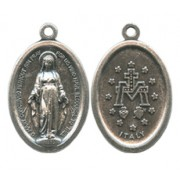 """Miraculous Oval Oxidized Medal mm.22 - 7/8"""""""