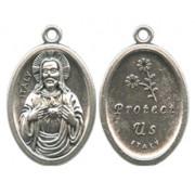 "Sacred Heart of Jesus Oval Oxidized Medal mm.22 - 7/8"""