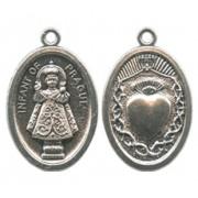 "Infant of Prague/ Heart Oval Oxidized Medal mm.22 - 7/8"""