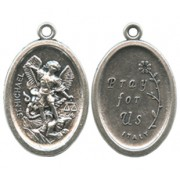 """St.Michael Oval Oxidized Medal mm.22 - 7/8"""""""