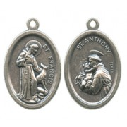 """St.Francis/ St.Anthony Oval Oxidized Medal mm.22 - 7/8"""""""