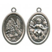 Guardian Angel/ Baby Jesus Oval Oxidized Medal mm.22 - 7/8""
