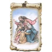"Jesus with Children Scroll Plaque cm.10x15 - 4""x6"""