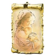 "Mother and Child Scroll Plaque cm.10x15 - 4""x6"""