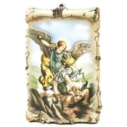 "St.Michael Scroll Plaque cm.10x15 - 4""x6"""