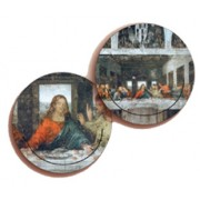 Jesus/ Last Supper 3D Bi-Dimensional Round Bookmark cm.7 - 2 3/4""