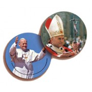 Pope John Paul II 3D Bi-Dimensional Round Bookmark cm.7 - 2 3/4""