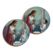 Communion Boy and Girl 3D Bi-Dimensional Round Bookmark cm.7 - 2 3/4""