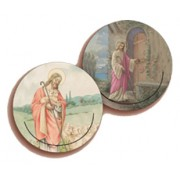 Shepherd/ Jesus and the Door 3D Bi-Dimensional Round Bookmark cm.7 - 2 3/4""