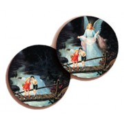 Guardian Angel 3D Bi-Dimensional Round Bookmark cm.7 - 2 3/4""