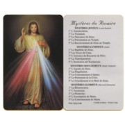 "Divine Mercy Mysteries of the Rosary French PVC Card cm.5x8.5 - 2""x3 1/2"""