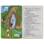 "Cartoon Lourdes Mysteries of the Rosary French PVC Card cm.5x8.5 - 2""x3 1/2"""
