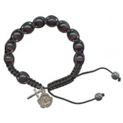 A Grade Cats Eye Rosary Bracelet Deep Purple 10mm Beads