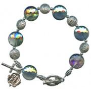 A Grade Glass Bead Rosary Bracelet Light Green 14mm